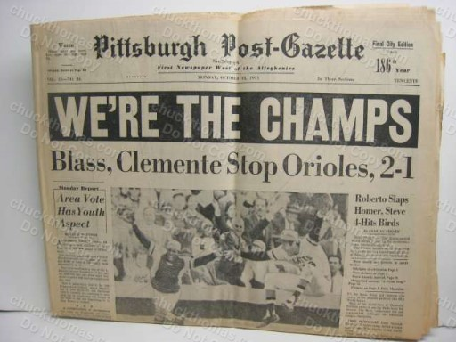 1971 Pittsburgh Post-Gazette ORIGINAL We're the Champs' Pirates Baseball Newspaper