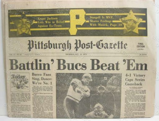 Pirates 1979 Champions Post Gazette ORIGINAL Newspaper
