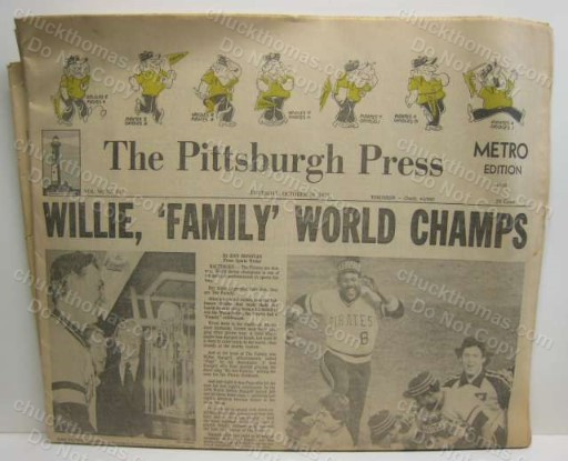 Pirates 1979 World Champs ORIGINAL Pittsburgh Press Newspaper