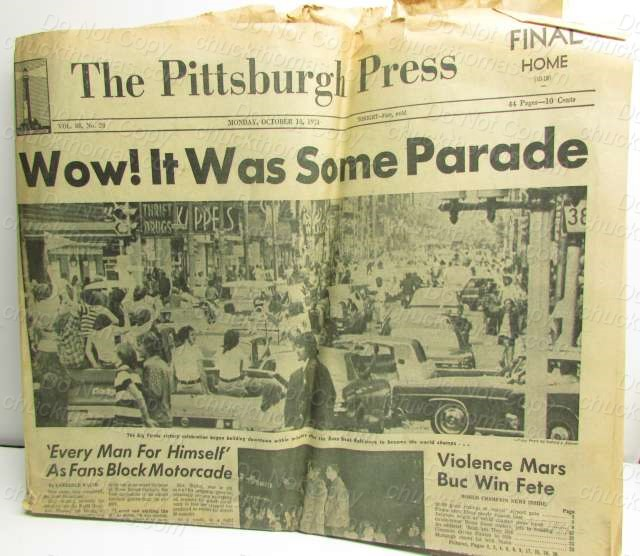 Pirates 1971 World Series Champs Newspaper