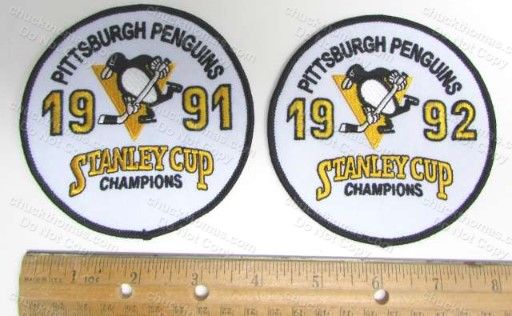 Penguins 1991 and 1992 Stanley Cup 4 Inch Round Cloth Jersey Patch