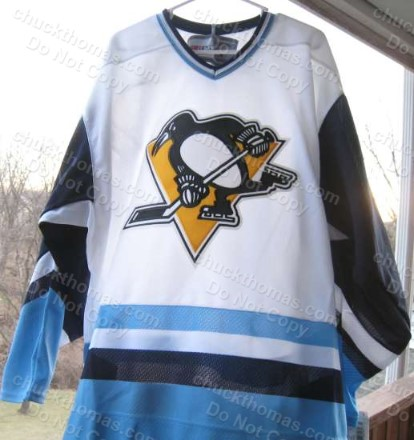 Pens CCM Vintage Blue and White 1970s Jersey