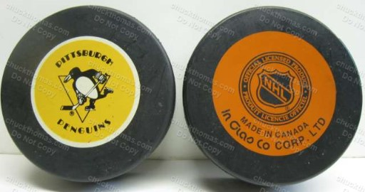 Penguins 1980s Official In Glas Co Game Puck