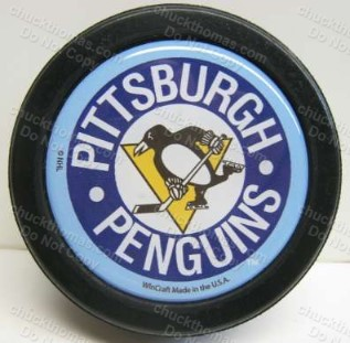 Pens Blue Logo Official Puck