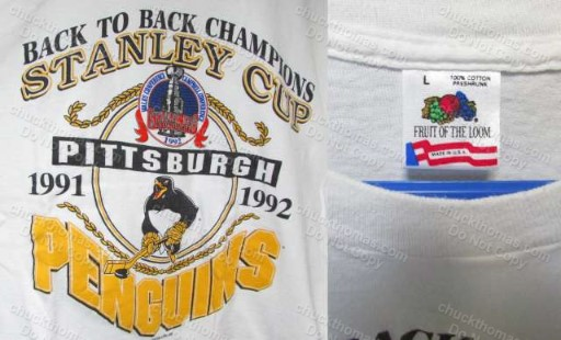 Penguin Hockey ORIGINAL Back to Back Champion Tee Shirt NEW Size Large