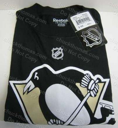 Penguins Reebok Brand Pens Skating Penguin Logo Black Tee Shirt