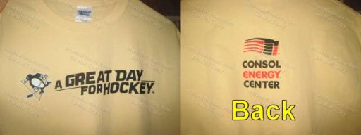 Penguins Coach Badger Bob Johnson's A Great Day for Hockey Tees Shirt Home Game Promotion