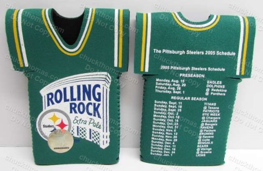2005 Steeler and Rolling Rock Logs and Schedule Bottle Koozie