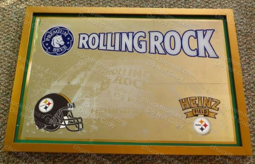 Rolling Rock and the Pittsburgh Steelers Promotional Bar Mirror