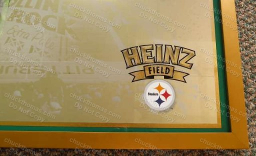 Heinz Field, Steeler Helmet Logo, Rolling Rock Logo Large Tavern Mirror Promotional