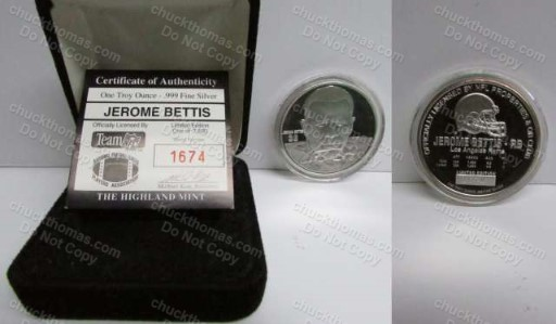 Jerome Bettis Highland Mint Silver Coin