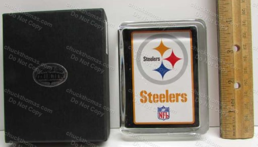 Older Steelers Glass Paper Weight Like New in Original Box