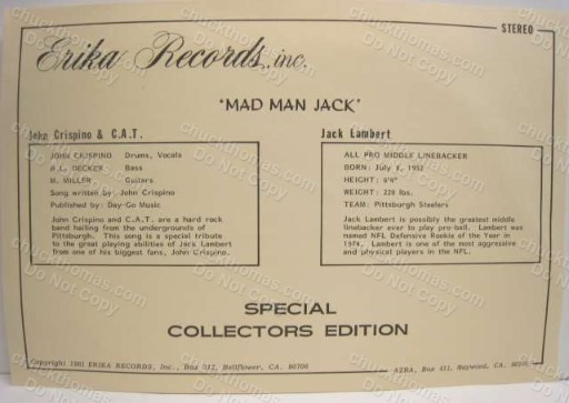 Hall of Famer Jack Lamber Mad Man Jack Record Albumm