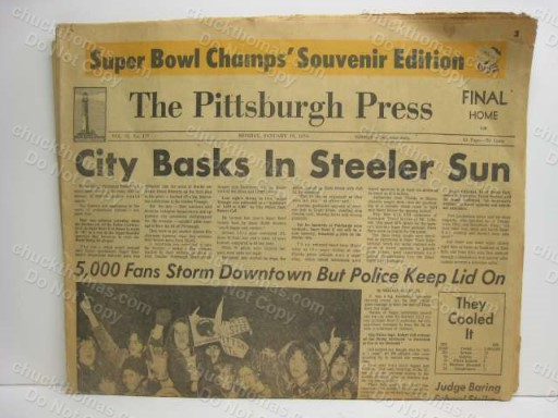 Steeler Super Champs 1976 Pittsburgh Press ORIGINAL Newspaper