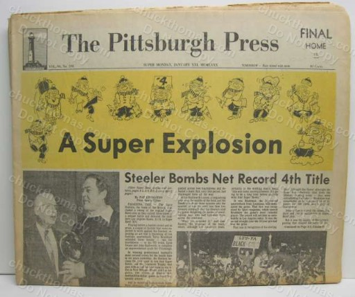 Steelers 4th Super Bowl Title ORIGINAL Pittsburgh Press Newspaper