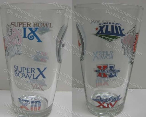 Steelers ALL 6 Super Bowl Logos 16oz Coors Lite Glass