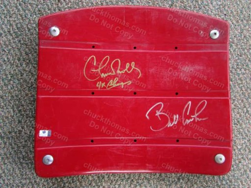 Steeler Coaches Chuck Noll and Bill Cowher Autographed Authentic 3 Rivers Stadium Seat