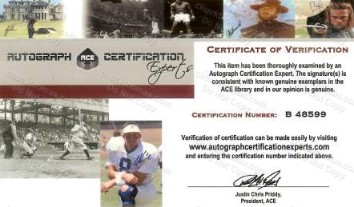 An ACE Certificate of Authenticity for Heath Miller