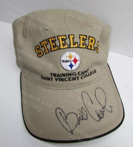 Steeler Coach BIll Cowher Autographed Spring Training Cap Tan Steeler Ball Cap