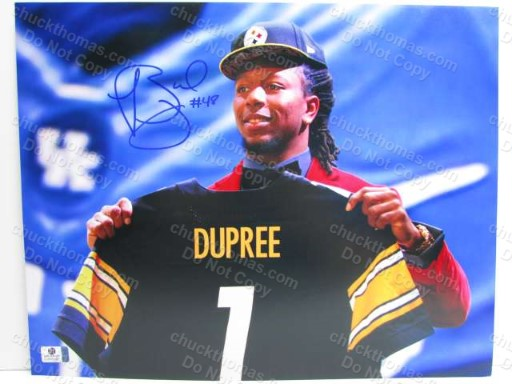Steeler Bud Dupress Signed 11 x 14 Inch Number One Draft Pick Photo with a Global COA
