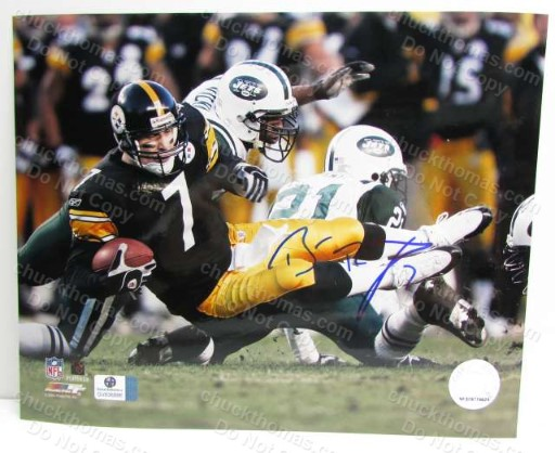 Steeler Quarterback Ben Roethlisber Autograph 8x10 Action Photo with a Global Certificate of Authenticity