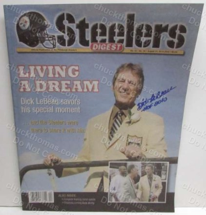 Steeler Hall of Famer Defense Coach Dick LeBeau Autographed Steelers Digest Cover in his Hall of Fame Jacket