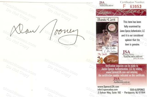 Steeler Owner Dan Rooney Autographed 3 x 5 Index Card with a JSA Certificate