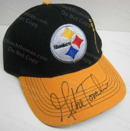 Steeler Coach Mike Tomlin Autographed Steel Logo Black and Gold Ball Cap