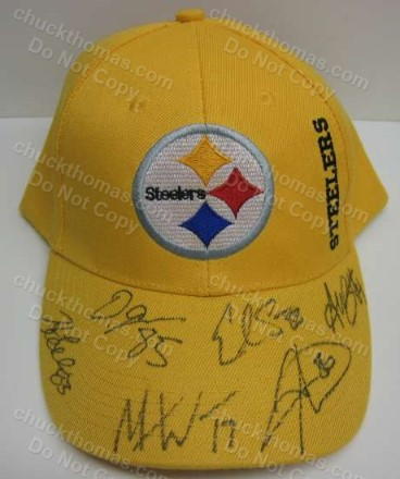 Steeler 6 Player Auto Cap Sanders Johnson Ward Brown Wallace Miller
