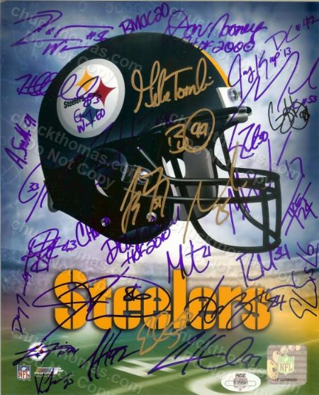 Steeler Team Signed 8x10 Helmet Logo Photo