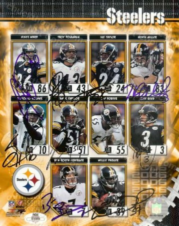 Steeler 9 Player Signed 8x10 Collage with an ACE Certificate