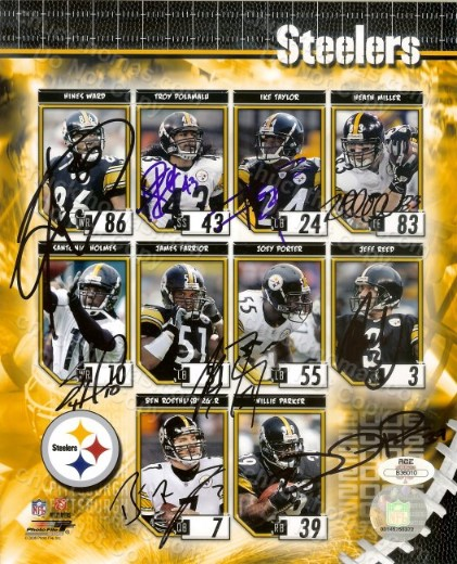 Steeler Football Autographed 8x10 Collage of 10 Players with an ACE COA