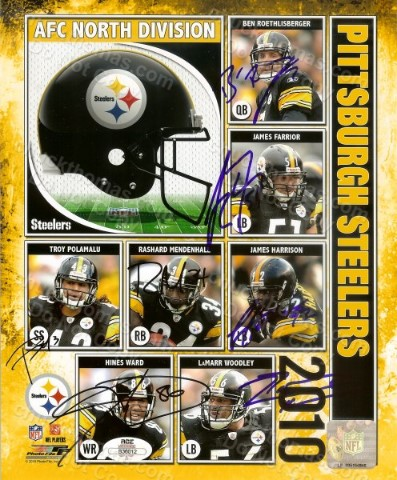 Steeler 7 Player Signed Team Collage 8x10 Photo
