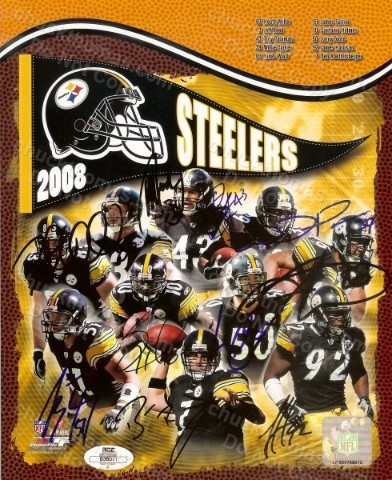 Steeler 10 Player Autograph Collage with an ACE COA Ben R Hines Ward Troy P