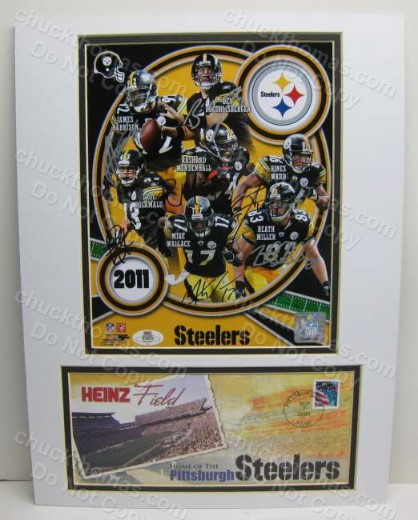 Steeler Auto Player Collage Double matted with a Heinz Field Cachet with an ACE Certificate