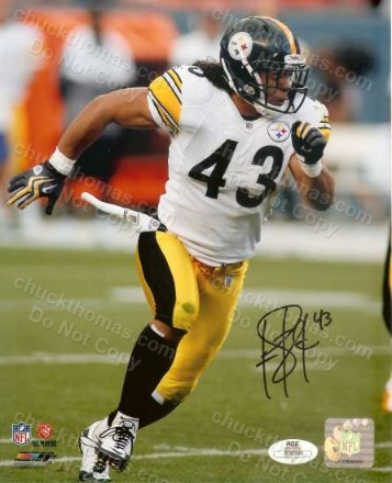 Troy Polamalu Autographed Action Steeler 8x10 Photo