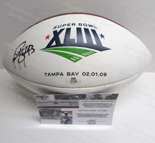 Steeler Troy Polomalu Autographed Full Size Super Bowl XLIII Logo Football