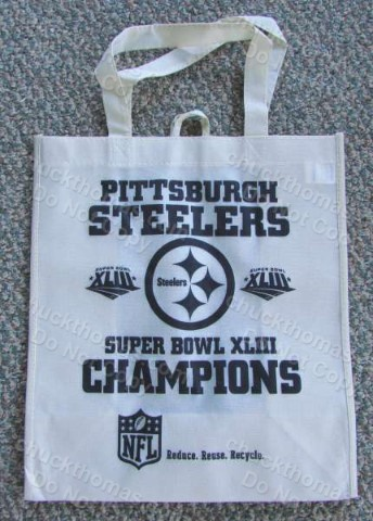 Steeler Super Bowl 43 White Shopping or Gift Bag