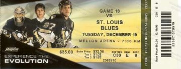 Penguins Dec 19, 2006 Game Ticket
