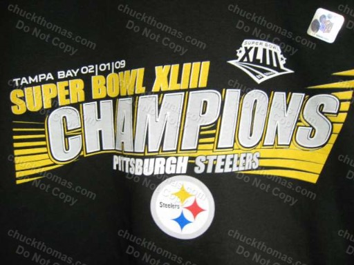 100% Cotton - Steelers Super Bowl XLIII Champs Black Tee