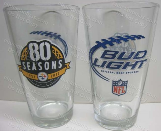 Steelers and Bud Light 80 Season Logo HEAVY 16 oz Pint Glass