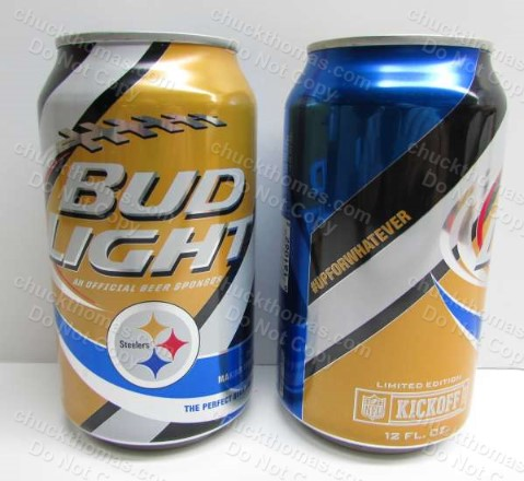 2015 Steelers and Bud Light Logos 12 oz Beer Can