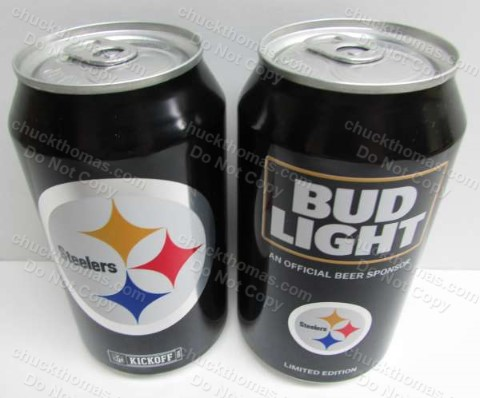 Steelers and Bud Light Logos 12oz BLACK Beer Can
