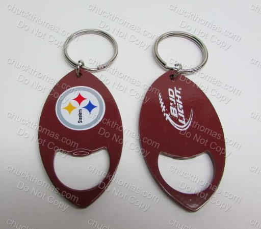 Steeler and Bud Light Logos Bottle Opener and Keyring