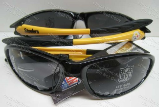 Steeler UV Protection 400 Black and Gold Adult Sunglasses