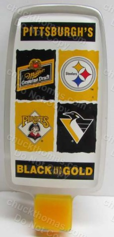 Miller Beer Tap Handle Logos of the Pirates, Penguins and Steelers