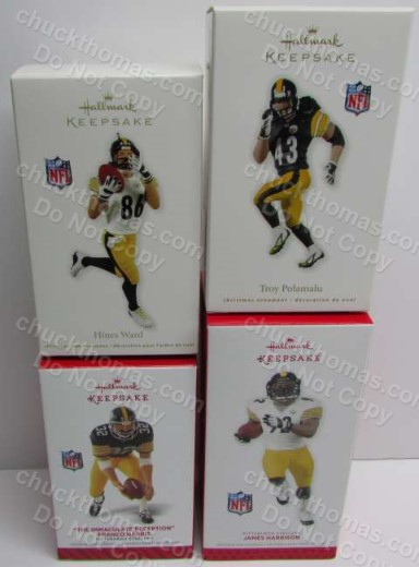 Pittsburgh Steelers Set of 4 Hallmark Ornments Brand New in the Box - Polamalu, Hines Ward, James Harrison and Franco Harris