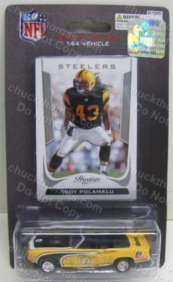 Troy Polamalu 1:64 scale card and trading card