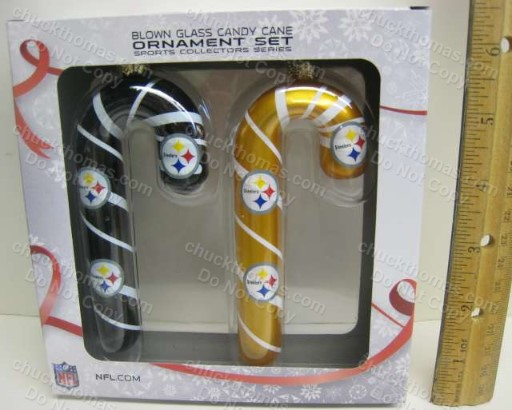 Pair of Steeler Black and Gold Blown Glass Candy Cane Ornaments