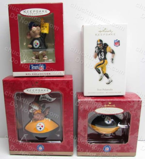 Steeler Hallmark Ornament Set - Mouse, Squirrel and Pennant, Blimp and Santa, and Troy Polomalu